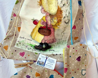 Backpack shoulder bag with two zippered pockets-Sarah Key hand painted