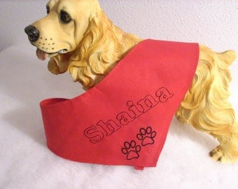 Personalized red bandana for your dog L - XL - XXL