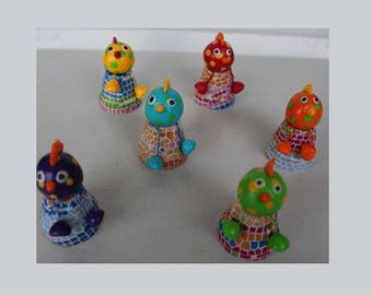 Easter set, 6 chickens on small clay pot