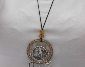 Dream catcher horse necklace