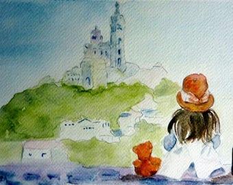 watercolor, a little girl bear in Marseille