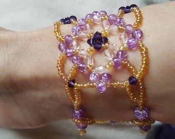 size small purple tones beads and swarovski Cuff Bracelet