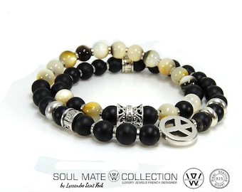 Bracelet man or woman collection concept SOUL MATE in 925 sterling silver and semi-preceuses gems, hippie bracelet