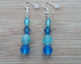 Recycled glass earrings frosted blue