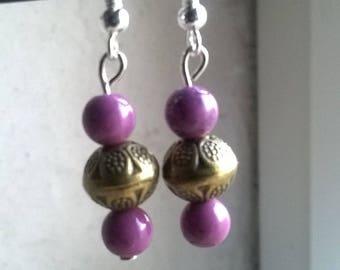 Stone and metal beads earrings