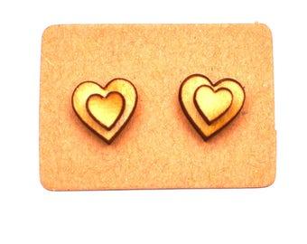 Wooden heart earrings, heart earrings, earrings