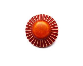 Retro round button Brown ochre vintage 25 mm