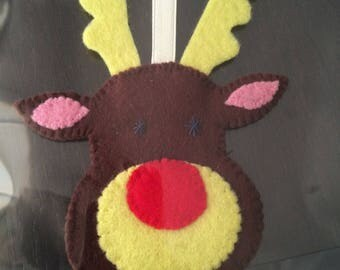hand stitched Christmas Reindeer Christmas ornament