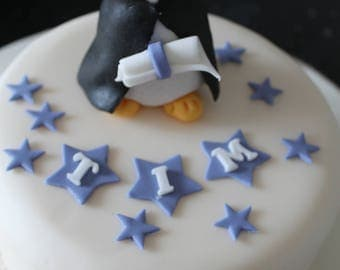Hand Crafted Graduation Owl celebration cake topper with name to order