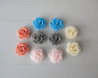 10 flowers cabochons resione stick color