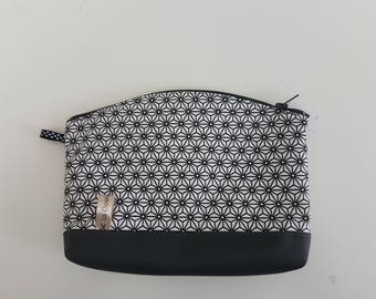 "superb cosmetic case faux leather fabric and grey ""Graphic"", fully lined"