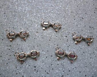 5 glasses 6 x 18 mm silver metal charms