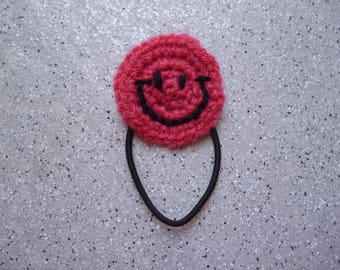 Hair tie from smiley pink crocheted