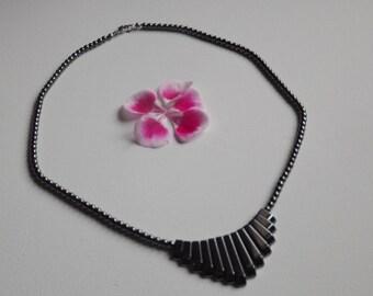 elegant bib necklace and hematite beads
