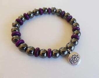 Hematite and lotus flower bracelet