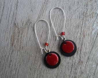 Earrings disc in inner tube recycled and Red sequin