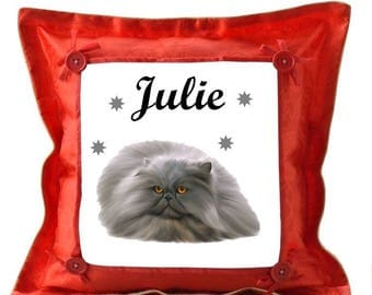 Red cushion Persian personalized with name