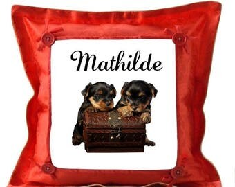Red cushion Yorkshires personalized with name