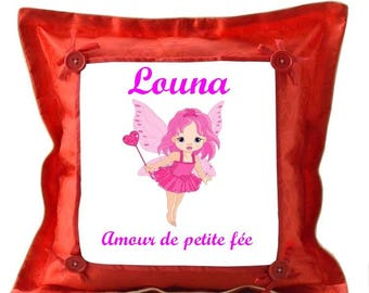 Pretty little fairy red pillow personalized with name