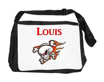 Personalized with name skull shoulder bag
