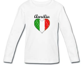 T-shirt long sleeve Italy girl personalized with name