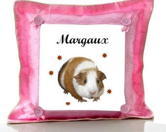 Pink pig cushion from India personalized with name