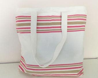 beach bag, pool, pink and Brown striped cotton large size
