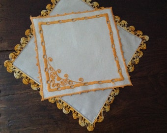 Two vintage doilies, handmade