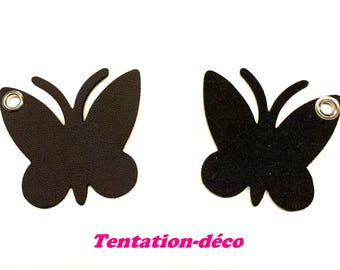 Set of 2 Brown butterflies - T24 artificial leather