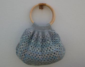 "Tote ""Cloud"" gray crochet blue"