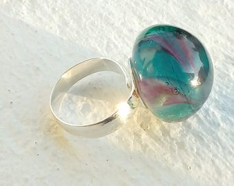 "Ring cabochon ""/ swirls"" handmade Lampwork Glass"