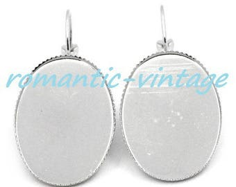 2 pairs of backings earrings sleepers silver 25 * 18mm cabochon