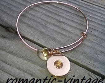 decorate to snap Bangle and charm heart brass gold pink 65mm thin and lightweight