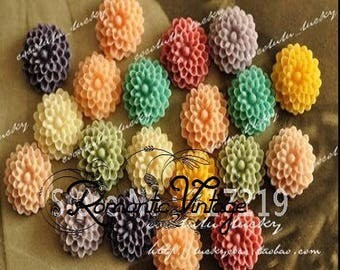 10 mix color, about 10mm resin flower cabochons