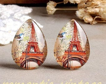 2 cabochons shape drop, Eiffel Tower vintage inspired. glass 25x18mm