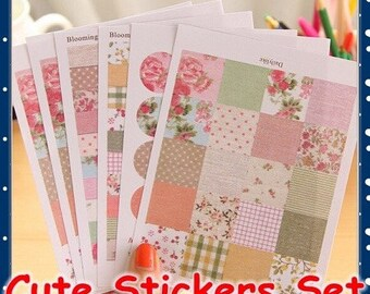 set of 6 sheets of Stickers effect fabric, romantic, vintage