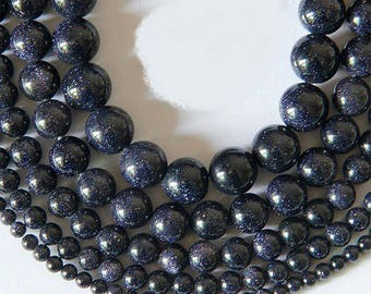 4mm: Blue Sun stone, natural 4mm 20 beads