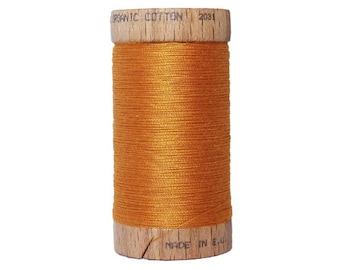Thread 100% cotton organic mustard - 100 meters - certified eco-friendly