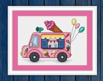 Ice cream truck - cross stitch pattern PDF