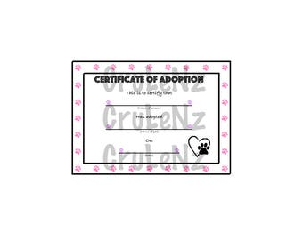 Animal Adoption Certificate