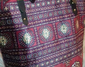 Handmade Large Red/Blue Weekender Bokhara style Carpet Bag/Mary Poppins