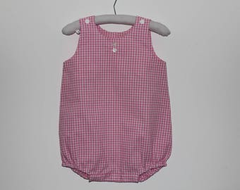 gingham romper pink checkered