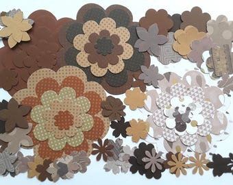 100 cuts vary in shades of brown paper flowers