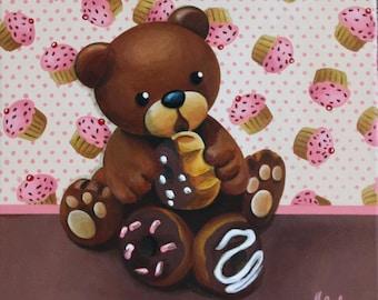 """Acrylic painting on canvas: """"Very greedy bear"""""""
