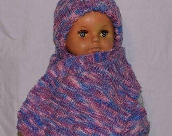 Hat and scarf set Heather blue and pink knit