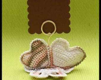 10 place cards hearts to the crochet for: wedding