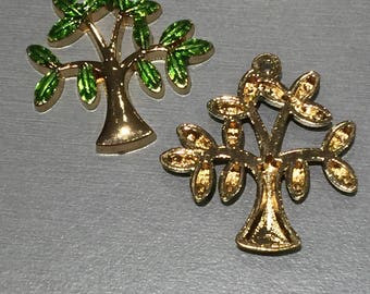 TREE in gold tone and enamel worm