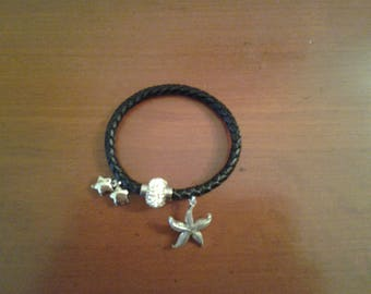 Leather Bracelet star of sea and stars
