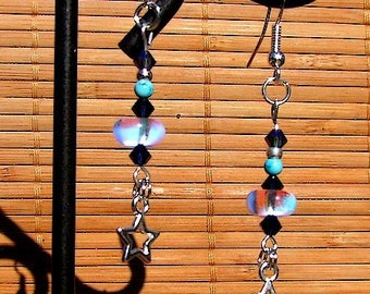 Dangle earrings Vintage style Czech crystal, Swarovski Crystal and turquoise Ithaca and silver stars