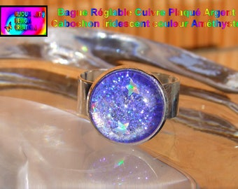 Silver plated copper Adjustable ring and glass Cabochon handmade